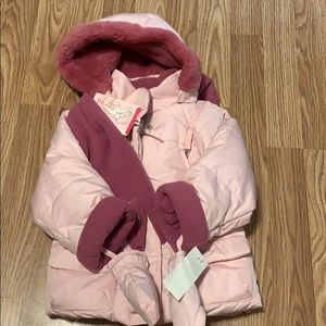 Pink Puffer Jacket W/ Scarf and Mitten Set